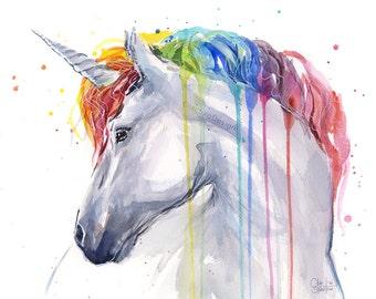 Unicorn Rainbow Watercolor Art Print, Unicorn Print, Baby Girl Nursery, Unicorn Painting, Unicorn Watercolor, Colorful Animals, Whimsical