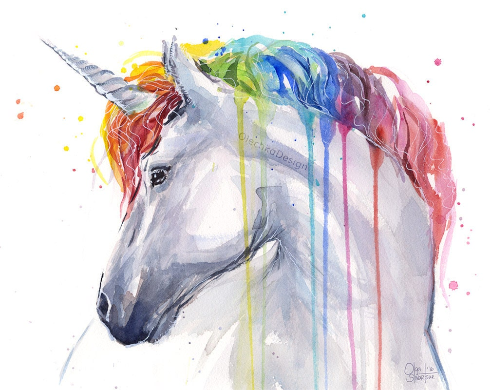 Unicorn rainbow watercolor art print unicorn print baby girl for Cute watercolor paintings