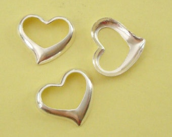 3 Pieces, Floating Heart Charms, with Hollow Back, Sterling Silver .925, 14mmx13mm, SCHP144