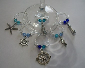 Pretty Set of 6 Swarovski Crystals Nautical Wine Charms