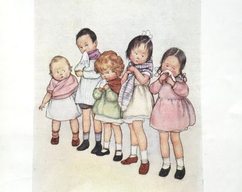 1930s AMELIARANNE CHILDREN With COLDS Susan B. Pearse Print Ideal for Framing