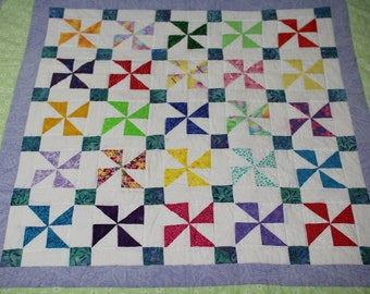 Handquilted Pinwheel Baby Quilt