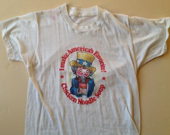 70s Vintage Campbell's Chicken Noodle Soup Uncle Sam T-Shirt - SMALL