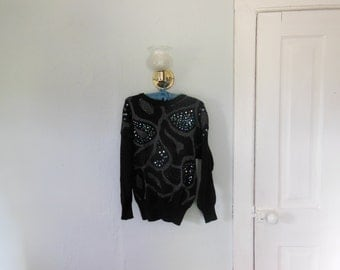 80s Black Sweater with Sequins and Beads
