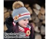 Alaska Kit. Crochet work sock hat and cowl pattern by Akroche tatuk. 4 sizes.  (english and french). PDF PATTERN ONLY!