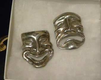 Pair of Vintage Sterling Comedy and Tragedy Mask Pins