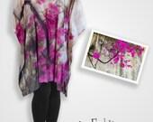 Cotton silk original floral fabric hot pink dress, bougainvillea floral top, fuschia pink plus size dress, boho one of a kind gift ideas