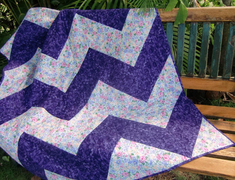 Purple Chevron Quilt Modern Zig Zag Quilt Feminine Patchwork