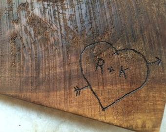 Wedding Gift -Rough cut black walnut custom cutting board