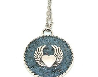 Heart Angel Wings Resin Pendant Necklace  - Love Wing Necklace - Steampunk Jewelry - Angel Wing Necklace - Heart Jewelry - Valentine Gift