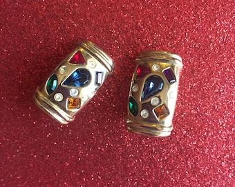 Vintage 80s/90s Multi-Color Jewel Clip-On Earrings