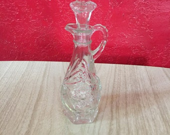Vintage Pressed Glass Cruet with Stopper, Oil/Vinegar