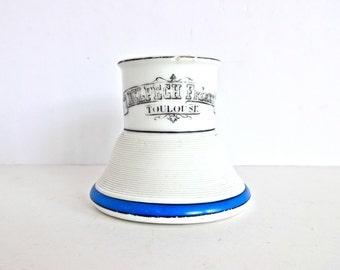 Vintage French Publicity Cafe Blue and White Pyrogene / Match Holder / Match Striker / Vesta
