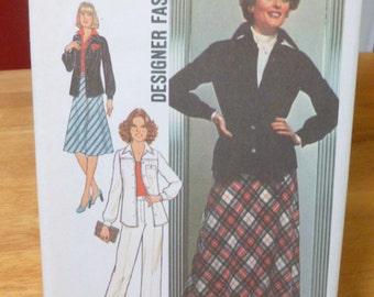 7781 Simplicity Size 16 1/2 Half Size Pattern Designer Fashion Bias Skirt in Two Lengths Shirt Jacket Pants Vintage 1976 Uncut
