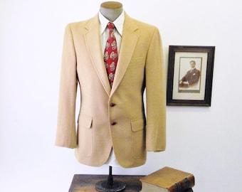 1970s Camel Hair Mens Suit Jacket Vintage Light Brown / Beige 100% Camel Hair Blazer / Sport Coat by Mister Guy - Size 40 (MEDIUM)