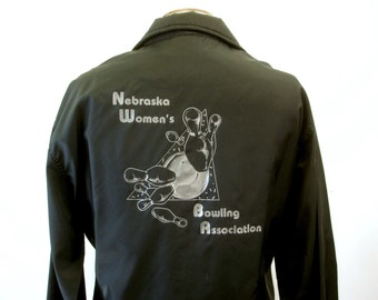 1970s Bowling Jacket Vintage Mens Pla-Jac Coat Black with Silver Decoration Nebraska Women's Bowling Association - Size 44-46 (XL)
