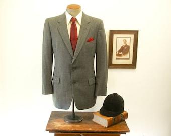 Vintage CHRISTIAN DIOR Mens Striped Suit Jacket / Sport Coat / Blazer Designed By Christian Dior Paris for Marshall Field - Size 40 (MEDIUM)