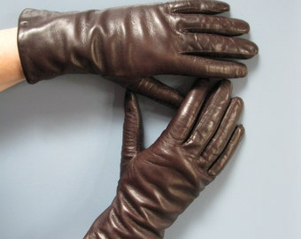 Vintage 1980's Chocolate Brown Leather Gloves Ladies Lined Winter Gloves