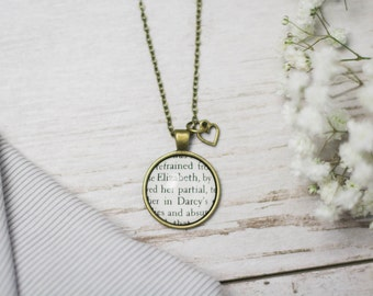 Elizabeth and Darcy Jane Austen Pride and Prejudice Book Page Necklace