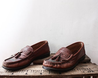 SALE___Vintage 1970s Brown Loafers Leather Shoes Retro Unisex