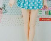 BJD Pleated Skirt - Slim MSD Minifee or SD - Aqua Blue with White Dots