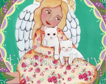 Angel with Cats, Art print, Mixed Media, wall decoration,room decoration, catholic prints, children room decoration, art be Evona Gallery