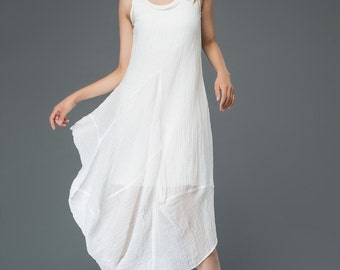 Linen dress white women's dress  C905