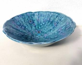 Handmade Porcelain Bowl, Tough but Delicate, Crystal Glazes, UK Ceramics