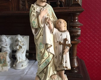 Antique French religious statue Saint Joseph Child Jesus Christ hand-painted plaster church altar item prayer shabby chic original painting