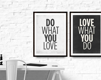 Bundle Posters Prints, Set of 2 Wall Decor, A4 Art Print, Office Typography, Do What You Love, Love What You Do, Special Offer, Neue Graphic