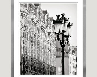 Black and white Paris photography, paris architectural art print, large wall art, city lantern photo, grey living room, 11x14, 18x24, 24x36