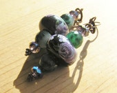 Dangle Earrings: Ceramic Purple Flower Patterned Beads with Natural Emeralds & Purple Crystal Beads