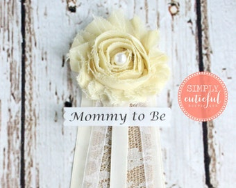 Vintage Burlap Corsage Mommy to Be Pin clip Brooch Grandma to Be Baby shower Burlap Corsage