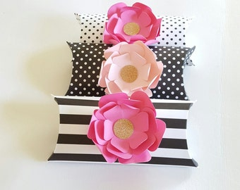 Pink, Black and Gold Themed Pillow Boxes, 12 PC Wedding Favor, Baby Shower, Birthday Gift Box, Elegant Pillow Boxes, Wedding Gift Box