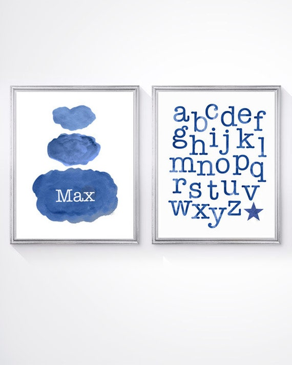 Navy ABC and Cloud Print Set, Set of 2 - 8x10 Personalized Prints