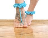 Barefoot sandals beach wedding barefoot sandals sparkle blue elegant sandals foot thongs beach accessories