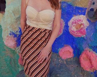 70s Brown Orange Stripe Wrap Skirt