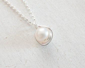 Freshwater Pearl Necklace, Pearl Silver Necklace, June Birthstone, AA Pearl Gold Necklace, Bridesmaids Gifts, Rose Gold Necklace, Wife Gift