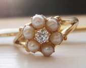 Engraved 'Christmas 1903'. Antique Victorian Diamond & Seed Pearl Sweetheart Ring. Quality 18K. Own a Piece of History. Sentimental Bliss!