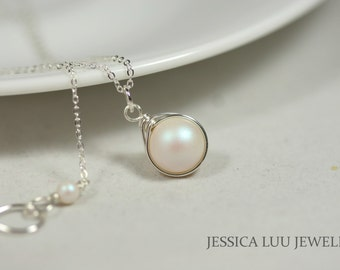 Mother of Pearl Necklace Wire Wrapped Jewelry Swarovski Pearl Necklace Bridal Pearl Necklace Bridal Pearl Jewelry Sterling Silver Necklace