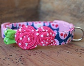 Flower Dog Collar - Navy Cherry/Strawberry Print with Pink Flowers and Green Leaves