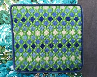 60's Hand Embroidered Small Square Pillow Diamond Gradient Front with Navy Blue Velvet Piping and Back