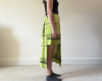 SALE handmade asymmetric skirt in green | plaid tartan skirt | made in england by green market square