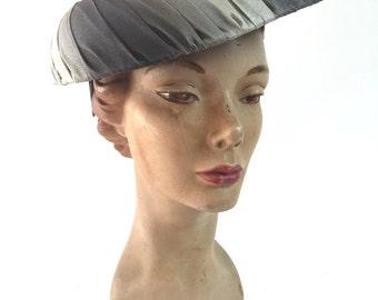 Gray flying saucer hat /jane morgan hat /1950s hat /1950s