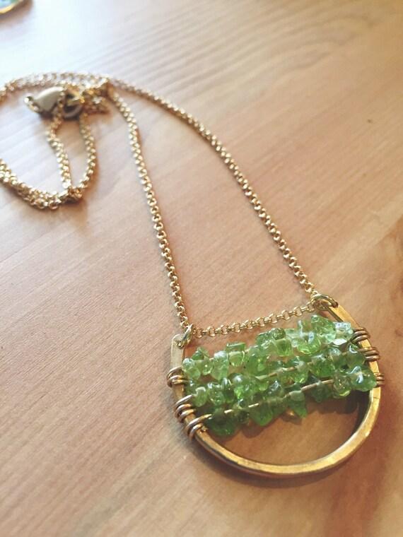 Peridot Hammered Lucky Crescent Necklace // Brass  //  Modern Brass Jewelry