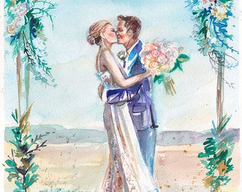 Paper Anniversary, Personalized Gifts: Custom Portrait Watercolor Painting for Anniversaries by Kristin Glaze van Lieshout
