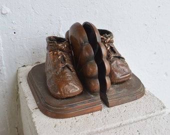 Bronze/Brass Baby Shoes Bookends