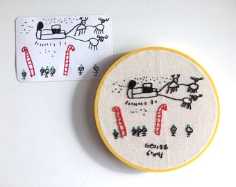 Embroidered Kids Art - Children's Doodle - Custom Design using your Child's Doodles and Drawings