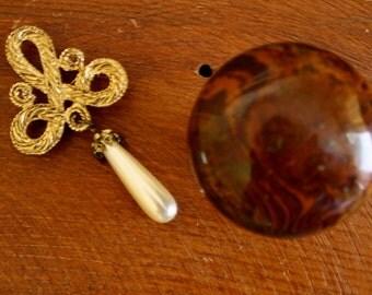 Vintage Brooch/ Scroll Design /Faux Pearl Teardrop/ Gold Tone Brooch