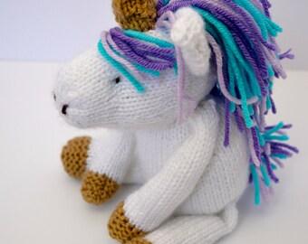 Unicorn Stuffed Animal, Knit Unicorn Doll, Handmade Plush, Soft Toy For Baby, Personalized Stuffed Animal, Stuffed Toy, Custom Made Toy